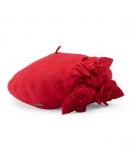 Betmar Wool Floral Beret Scarlet